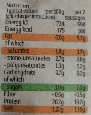 8 turkey sausages - Informations nutritionnelles