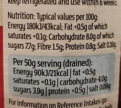 Sliced Beetroot in vinegar - Informations nutritionnelles - en