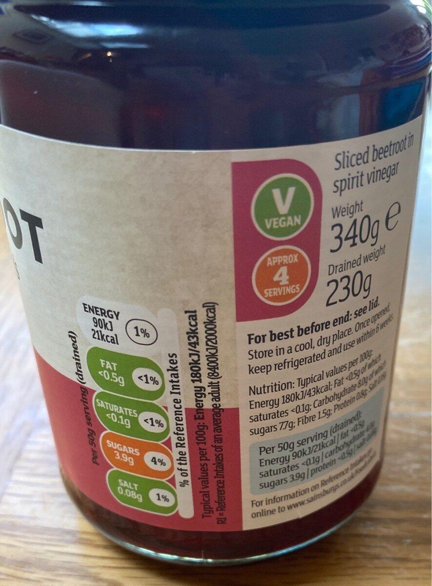 Sliced Beetroot - Informations nutritionnelles - en