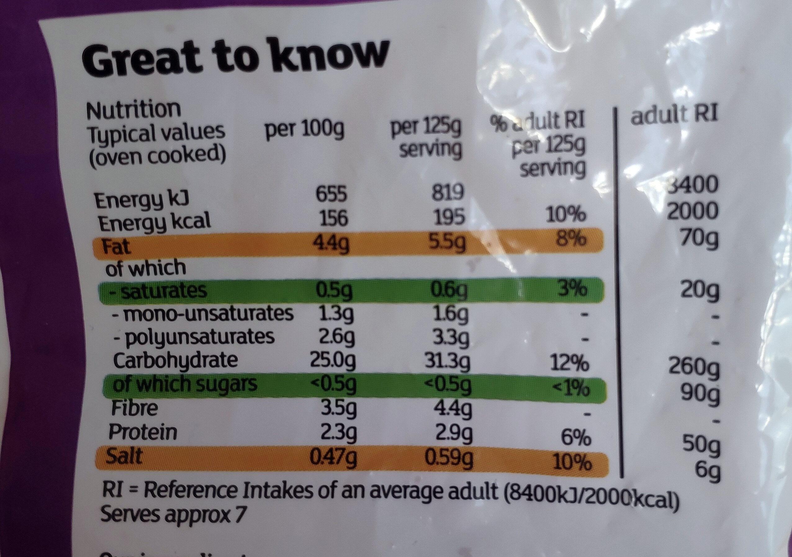 Lightly Spiced Wedges - Informations nutritionnelles - en