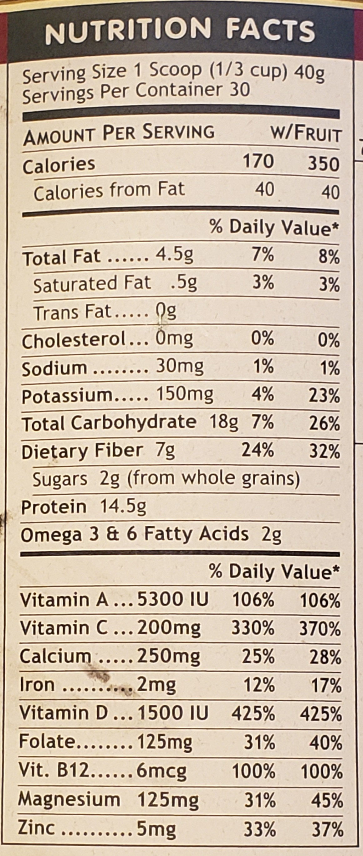 The Ultimate Meal - Nutrition facts - en
