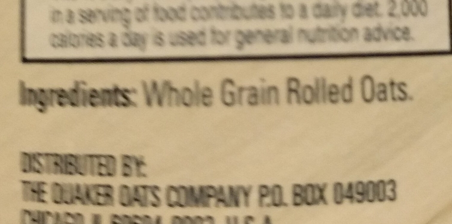 Quaker, 100% natural whole grain oatmeal - Inhaltsstoffe - en