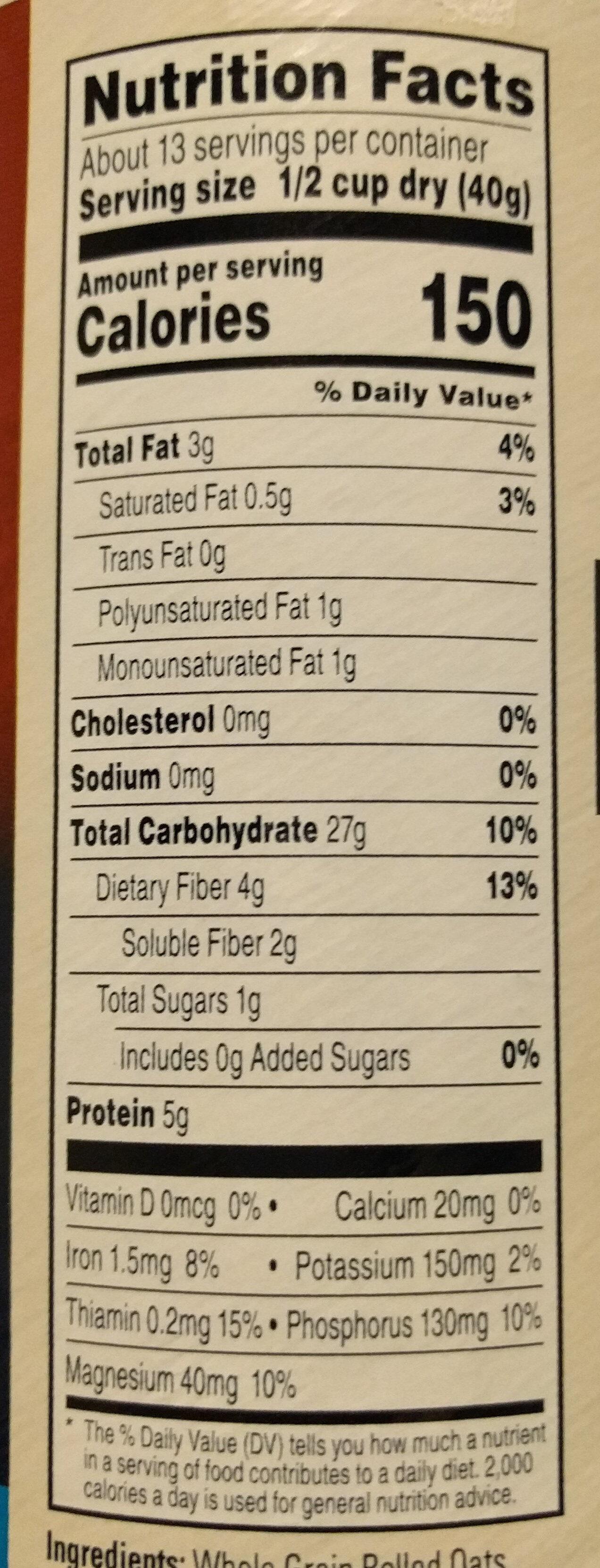 Quaker, 100% natural whole grain oatmeal - Nährwertangaben - en