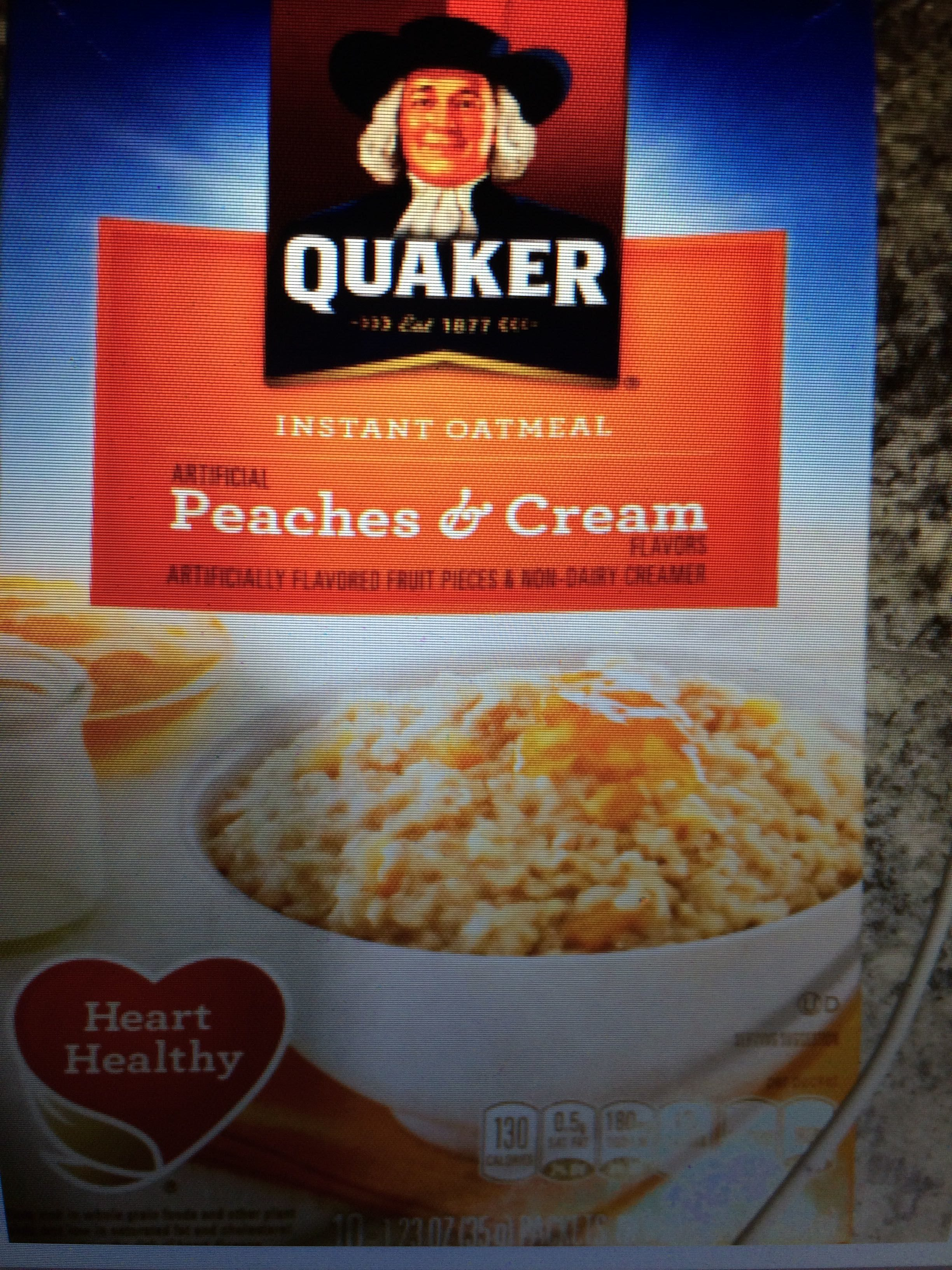Quaker Peaches & Cream Instant Oatmeal (10-1.23 Ounce) 12.3 Ounce 10 Count Paper Box - Product - en