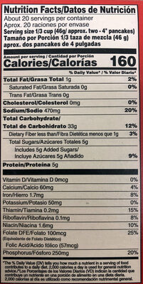 Original Pancake & Waffle Mix - Informations nutritionnelles
