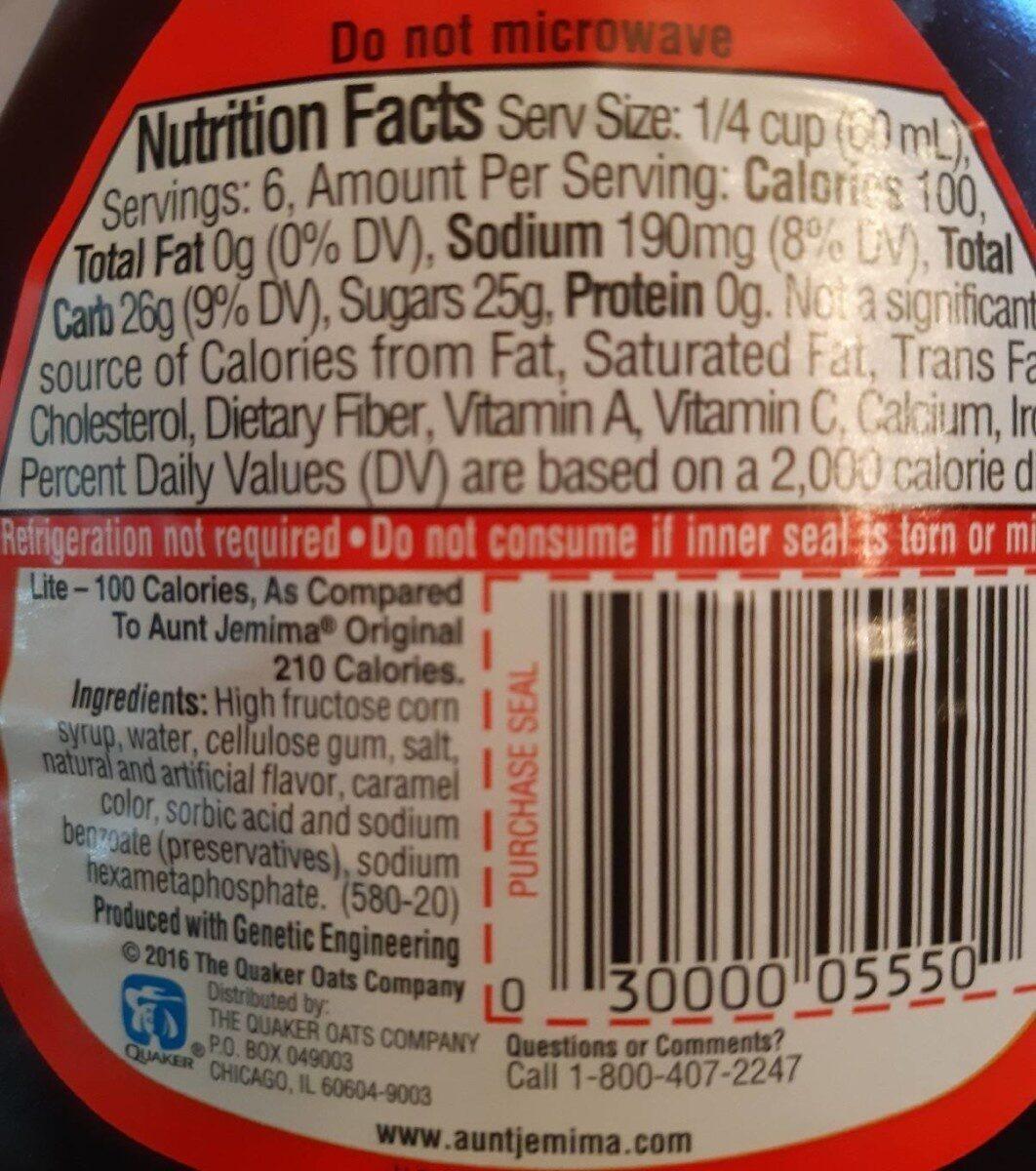 Lite Syrup, Original - Informations nutritionnelles - en