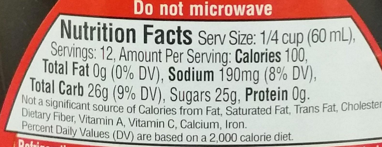 Original lite syrup, original - Nutrition facts - en