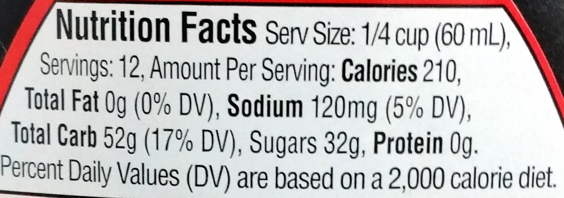 Aunt Jemima Original Syrup 24 Fluid Ounce Plastic Bottle - Nutrition facts - en