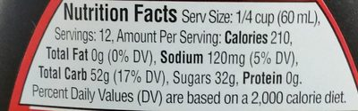 Aunt Jemima Original Syrup 24 Fluid Ounce Plastic Bottle - Informations nutritionnelles