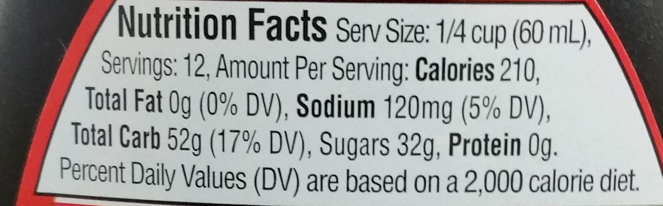 Aunt Jemima Original Syrup 24 Fluid Ounce Plastic Bottle - Informations nutritionnelles - fr