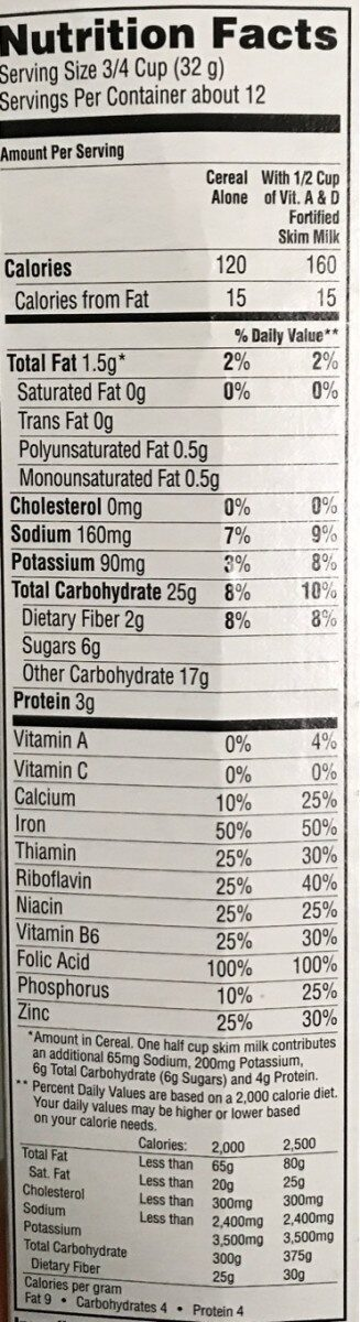 Life cereal - Nutrition facts - en