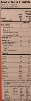 Cap'n Crunch's Peanut Butter Crunch Sweetened Corn & Oat Cereal 12.5 Ounce Paper Box - Informations nutritionnelles - fr