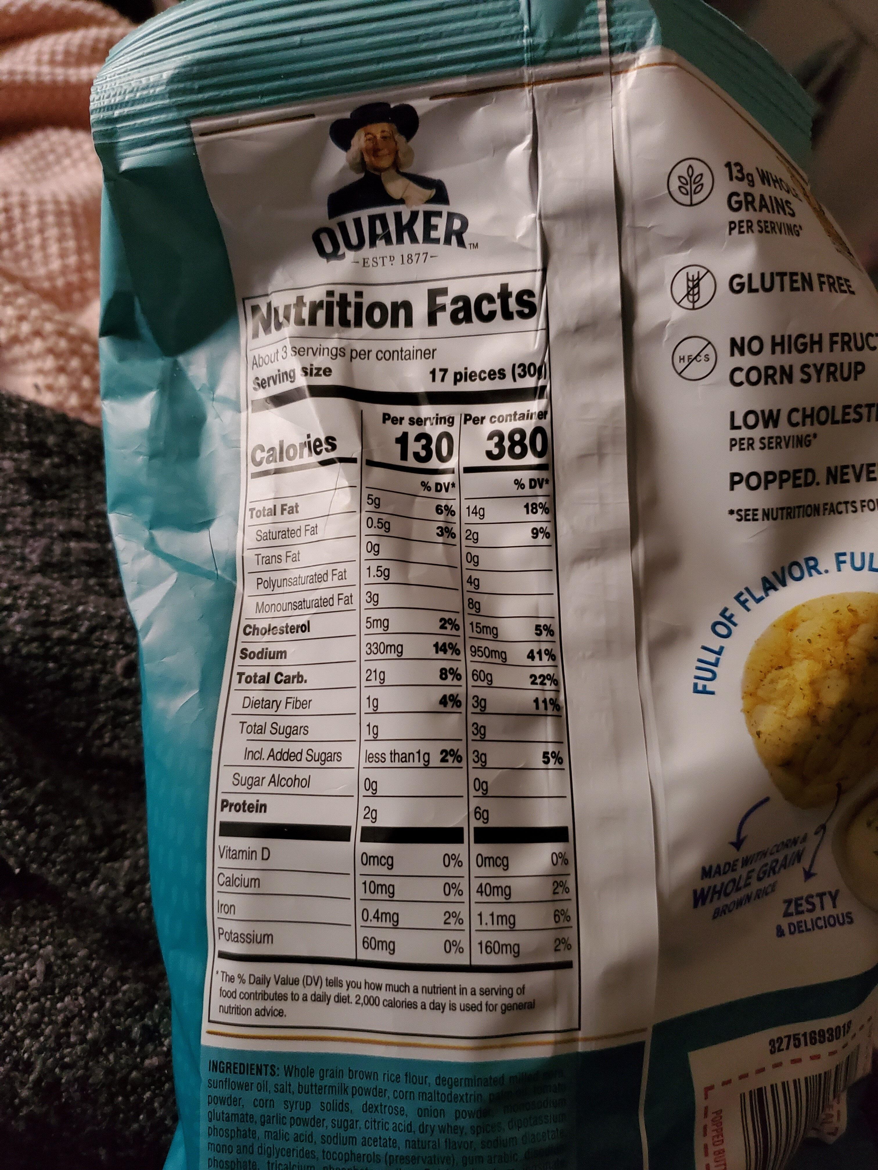 Quaker Ranch Rice Crisps 3.03 Ounce Plastic Bag - Informations nutritionnelles - en