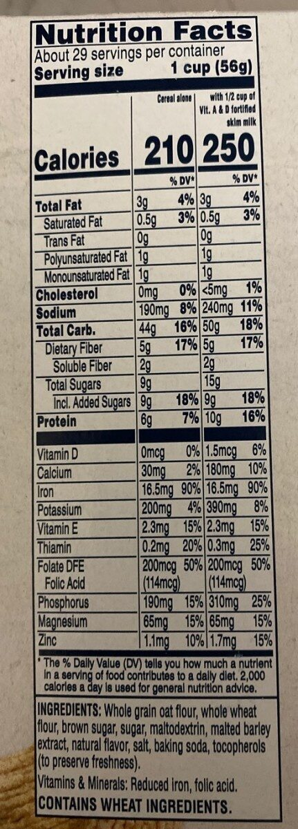 Squares crunchy oat cereal, brown sugar - Nutrition facts - en
