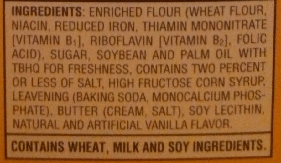 Vanilla Wafers - Ingredients