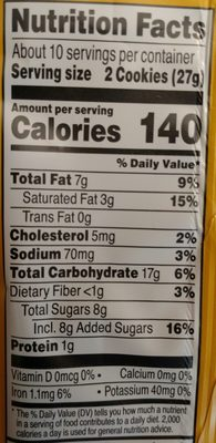 Keebler, simply made, cookies - Nutrition facts - en