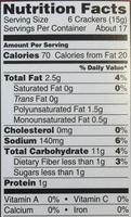 Pita Oven Baked Crackers - Voedigswaarden