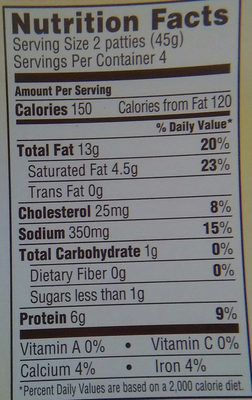 Brown 'N Serve original 8 fully cooked sausage patties - Nutrition facts