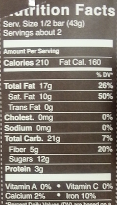 Natural dark chocolate with raspberries - Nutrition facts