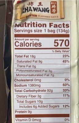 짜왕 - Nutrition facts