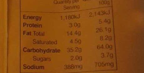 Potato Snack - Nutrition facts