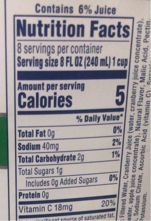 Cran apple cranberry apple juice drink - Nutrition facts - en