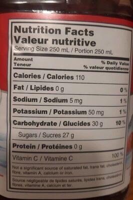 Cocktail aux canneberges - Nutrition facts - fr