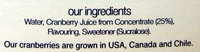 Cranberry Classic - Ingredients