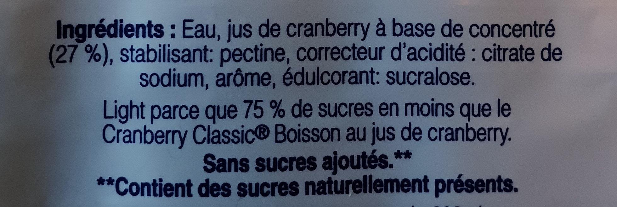 Cramberry Classic light - Ingrediënten - fr