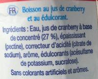 Cranberry Light - Ingredients