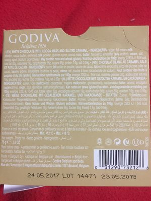 Godiva Chocolate Blond Chocolate Salted Caramel Tablet, 75 - Ingredients