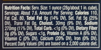 Dietz & watson, pasteurized process ny state cheddar cheese, buffalo wing - Nutrition facts