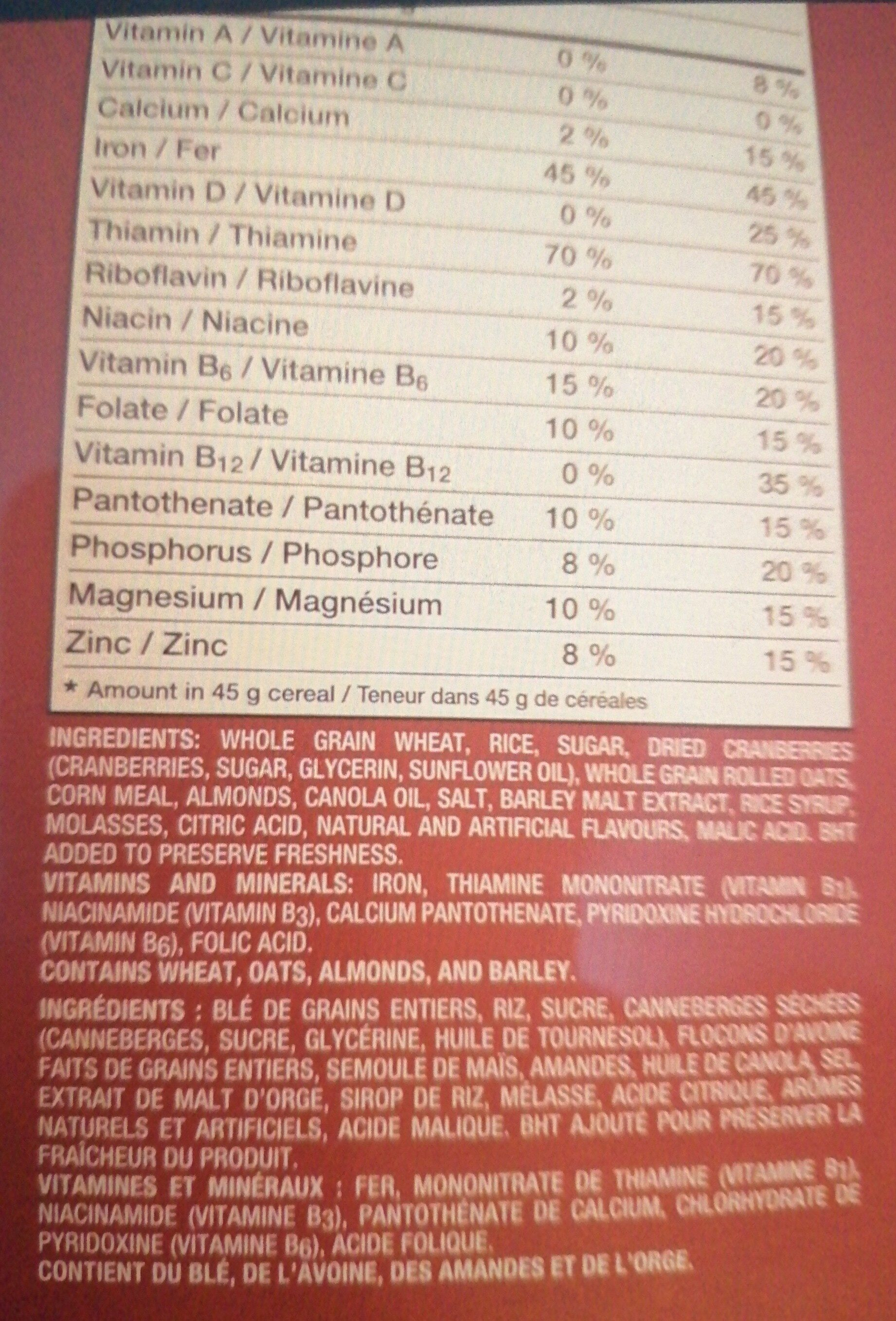 Cranberry almond crunch - Ingrediënten - en