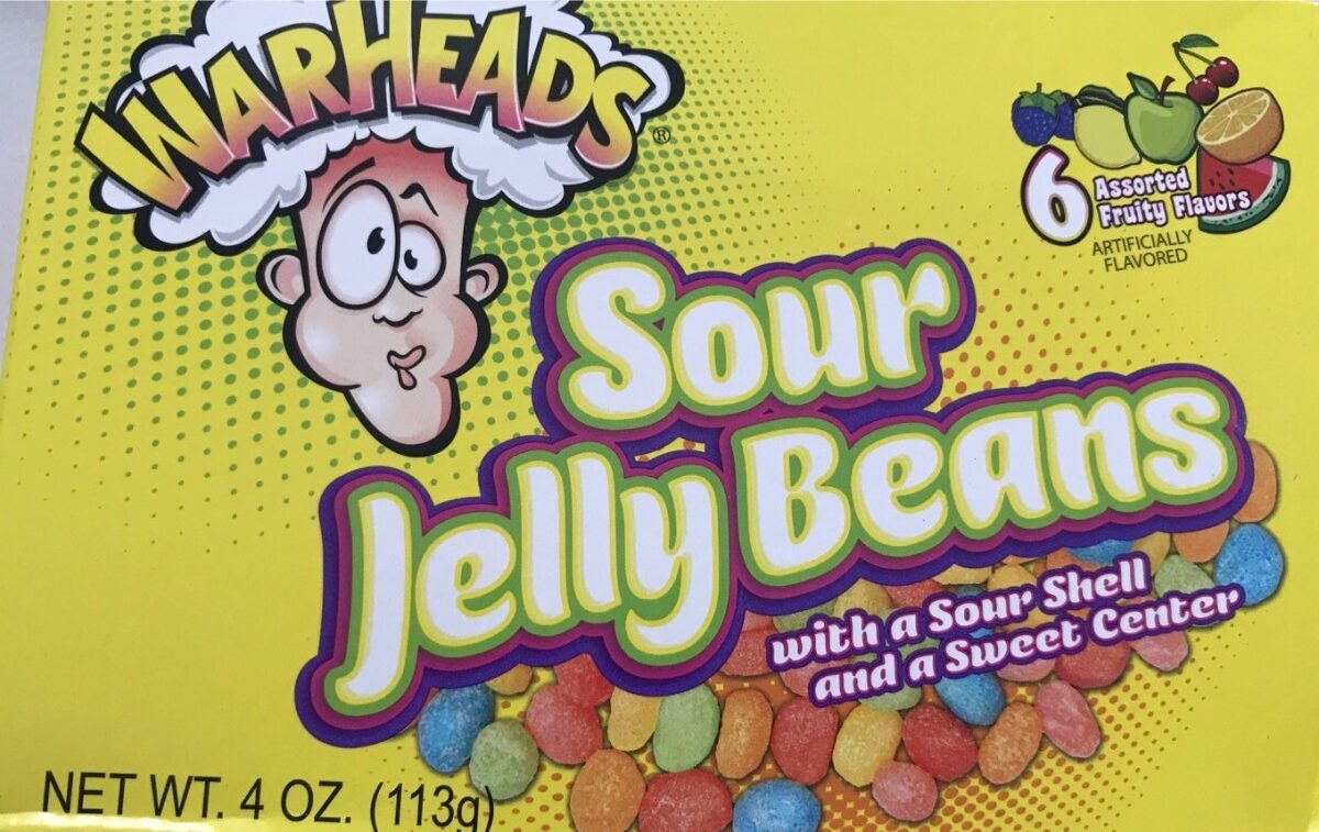 Warheads, sour jelly beans, orange, watermelon, lemon, blue raspberry, cherry, green apple - Product - en