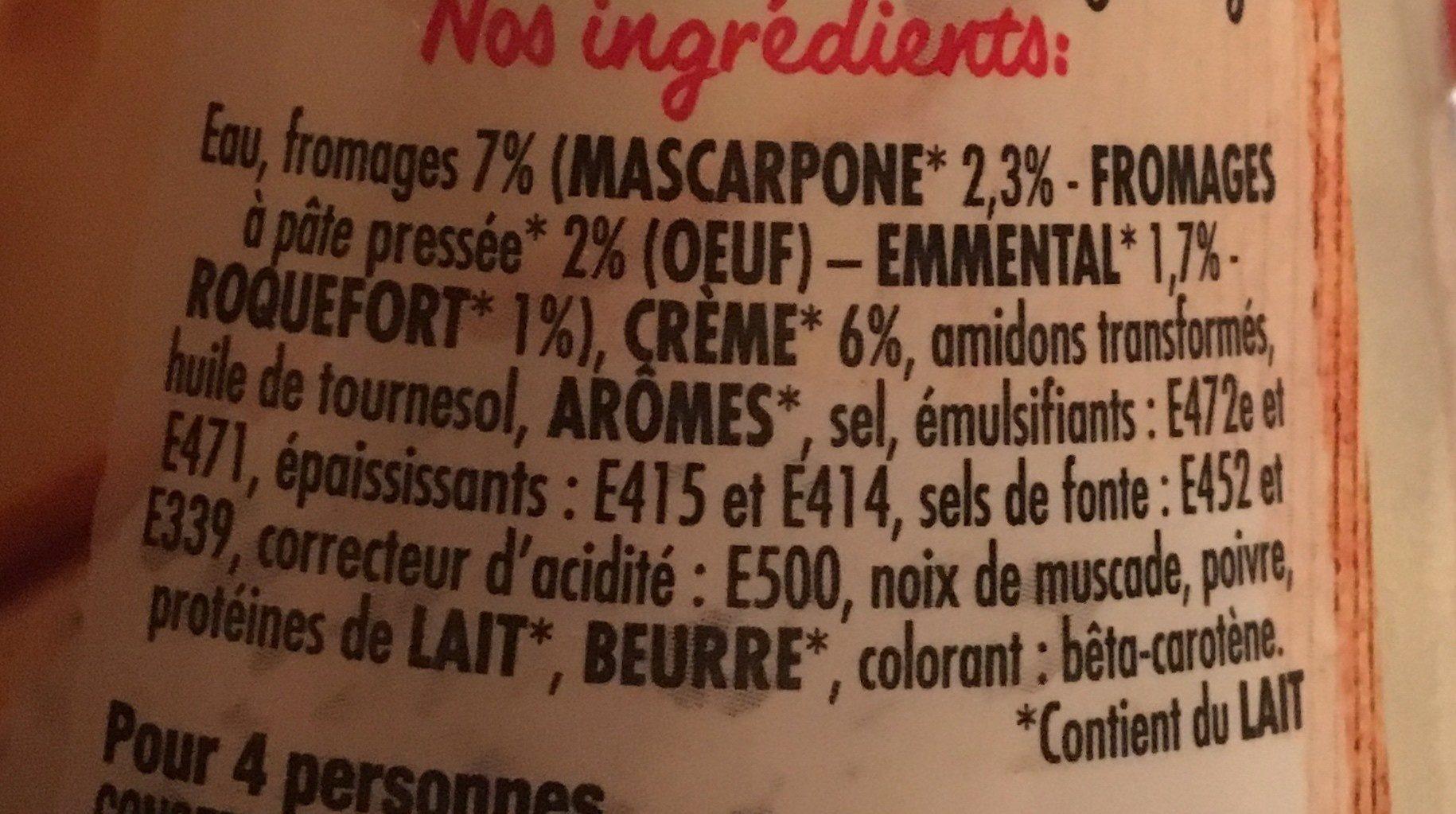 4 fromages a la creme et au mascarpone - Ingrédients - fr