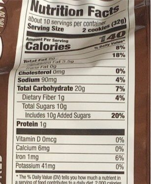 Chocolate chunk cookies, chocolate chunk - Nutrition facts - en