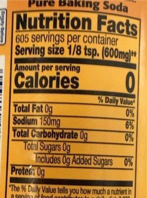 Pure baking soda shaker - Informations nutritionnelles - en