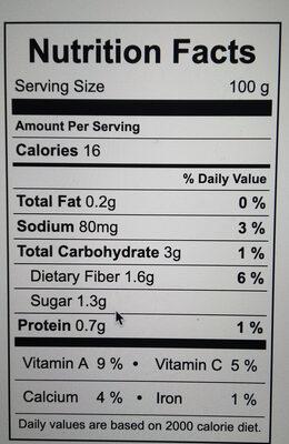 Celery stalk - Informations nutritionnelles