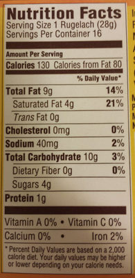 Flaky Rugelach - Nutrition facts - en