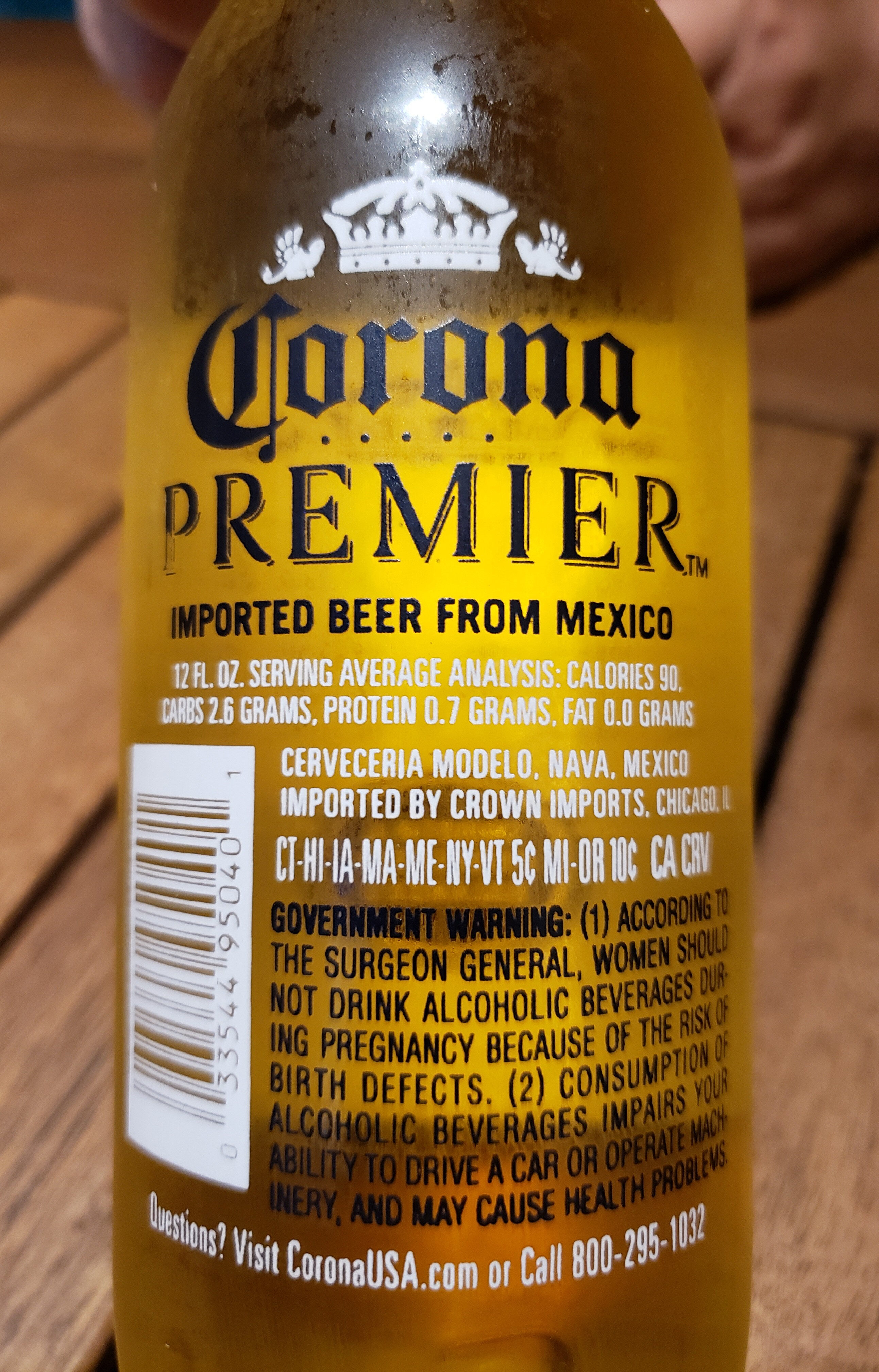 how much alcohol in corona premier