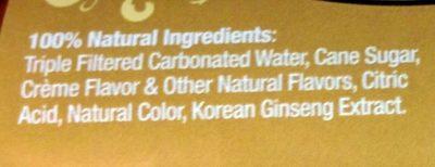 Cream soda - Ingrediënten - en