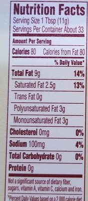 Organic whipped buttery spread - Nutrition facts - en