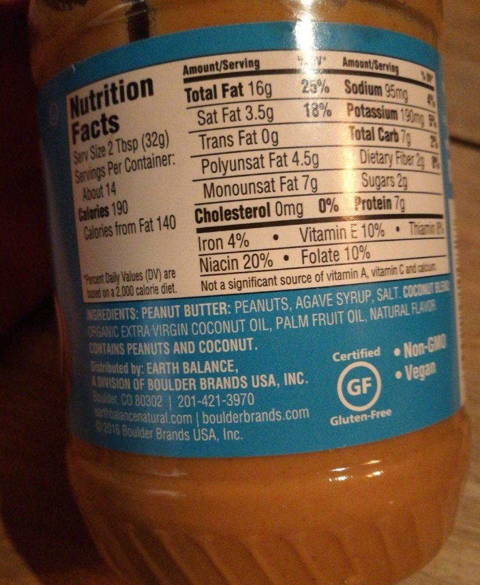 Earth balance, creamy coconut & peanut spread - Ingredients - en