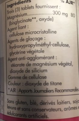 Magnesium bisglycinate - Ingrediënten