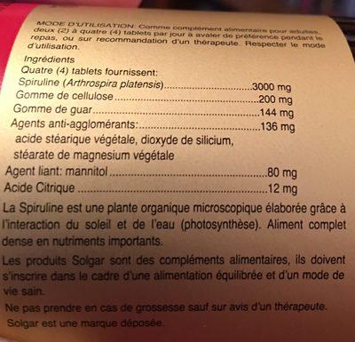 Spiruline 750MG - 100 Tablets - Solgar - Ingrédients