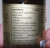 Vitamine B12 500μg - 50 Gélules - Solgar - Ingredientes