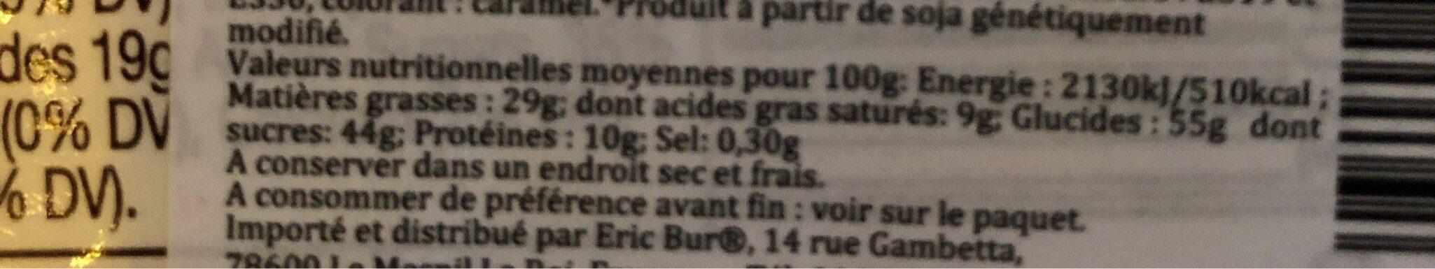 Barre Chocolat Beurre de cacahuètes - Informations nutritionnelles - fr