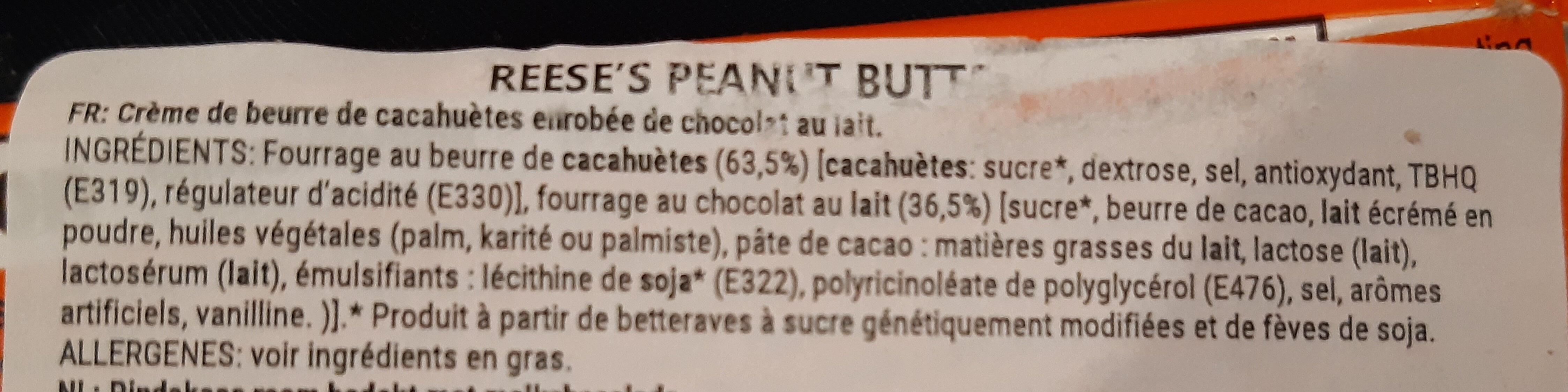Reese's peanut butter - Ingrediënten