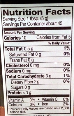 Natural Unsweetened Cocoa - Nutrition facts