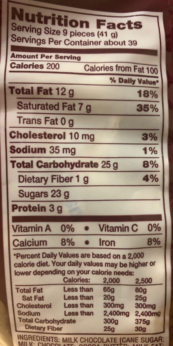 Hershey's Kisses Milk Chocolate - Nutrition facts - en